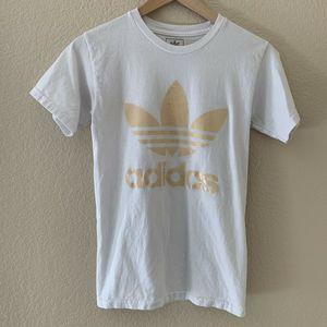 Adidas Gold Tan Copper Trefoil Logo White T-Shirt